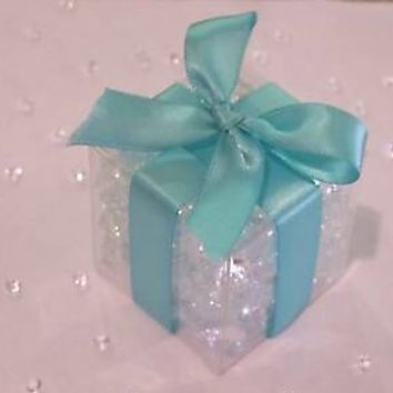 Clear Favor Boxes – Tiffany Blue Ribbon (50 Pc Set)