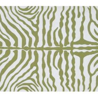 One Kings Lane - Step Outside - Zebra Outdoor Rug, Green/White