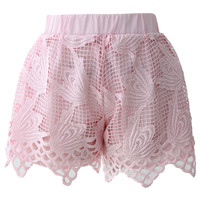 Pink Whirling Crochet Crop Top and Shorts Set