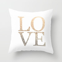 GATSBY GOLD LOVE Throw Pillow by Monika Strigel