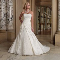 2012 Beautiful Strapless A-Line Taffeta Wedding Dresses Bridal Gowns With Beading And Lace