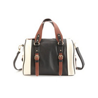 TRI-TONED COLOR BLOCK BOWLING BAG