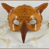 Gryphon leather mask sepia griffin costume larp Halloween fantasy art | Eirewolf - Clothing on ArtFire