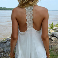 Delaire Ivory Lace Back Sleeveless Top