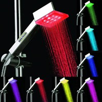 MobilePioneer Luxury Rain Romantic 7 Colors Automatic Changing 9 LED Light Shower Head Water Home Bathroom
