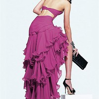 Buy Glamorous Chiffon A-line Strapless  Long  Prom Dress