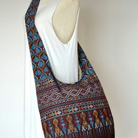 Traditional Thai Patterns / BROWN / Ethnic Hippie Purse and Fashion Cross Body Bag / Boho Hobo Messenger Bag DEP118