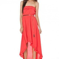 Beach Coral Hi Lo Dress - ShopSosie.com