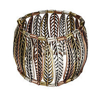 Nine West: Vintage America Collection  Tri-tone Feather Stretch Bracelet - VAC Jewlery