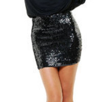 Disco Fever Black Sequin Cocktail Dress - Unique Vintage - Cocktail, Evening, Pinup Dresses