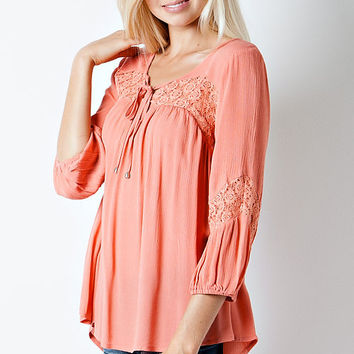 Peach and Chevron Lace Top