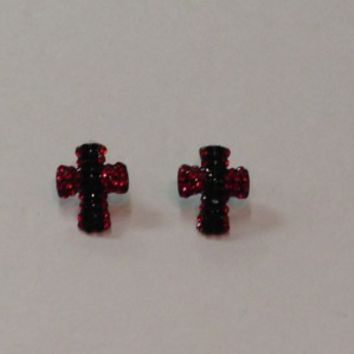 Small Cross Earrings- Red