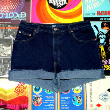 Vintage Denim Cut Offs - 90s VERY Dark Wash STRETCH Jean Shorts - High Waisted/Frayed/Rolled Up/Cuffed Shorts Misses Size 14