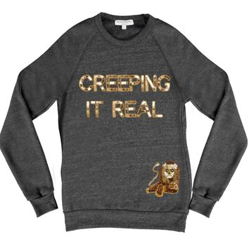 Bow & Drape, sweatshirts, comfy shirts, weekend wear, lounge, soft shirts, customized, creeping it real, creepin, sequin, appliques, unique