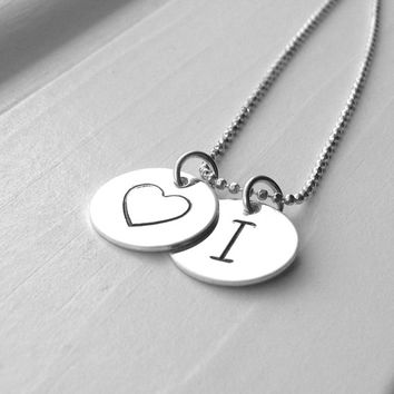 Initial Necklace, Sterling Silver Initial Jewelry, Heart Necklace with Initial, Letter I Necklace, Heart Necklace, Monogram Necklace