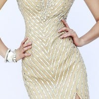 Embellished V-Neckline Gown by Sherri Hill