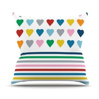 Kess InHouse Emeline Tate-Robertson 'Heart Stripes' Projectm Throw Pillow, 16 by 16-Inch