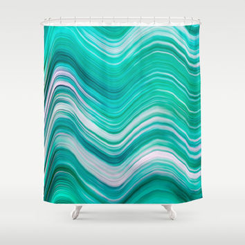 AQUA WAVE Shower Curtain by Catspaws | Society6