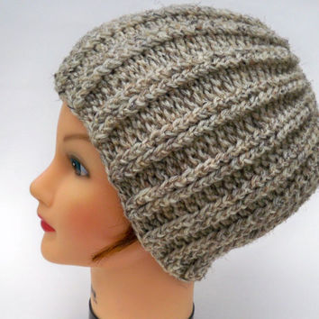 Crochet Rib Hat - Wool Blend Chunky Unisex Beanie In Birch Tweed - Winter Fashion - Crocheted Accessory - Warm Headwear - Head Covering