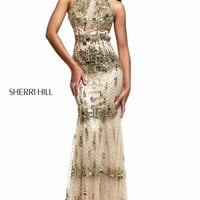 Beaded Haltered Evening Gown by Sherri Hill