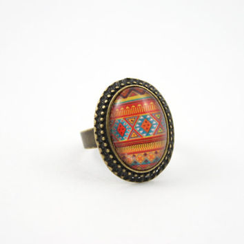 Aztec Print Ring, Geometric Pattern Adjustable Ring