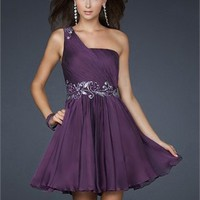 Mini short one-shoulder grape/royal blue Prom Dresses 2012 PDM313