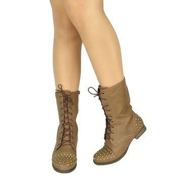 Women's Casual Spiked Toe and Heel Casual Comfort Combat Boots US Size 6-10 Taupe