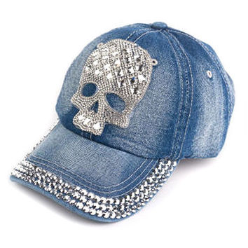 Fashion Skull Women Dark Blue Cotton Baseball Hat Denim Jeans Golf Dancing C A01