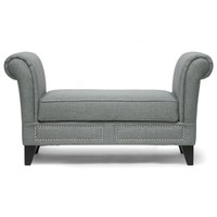 Baxton Studio Marsha Linen Modern Scroll Arm Bench, Gray