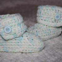 0-3 mo Baby Boy White and Blue Baby Booties- Photo Prop