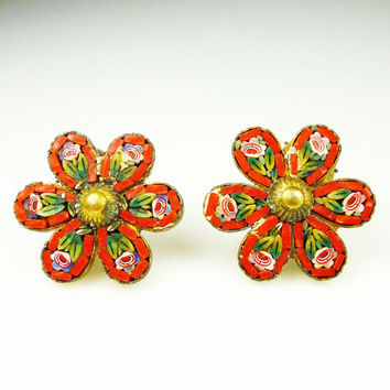 Vintage Earrings Micro Mosaic Daisy Flower Italy Gold Metal Jewelry