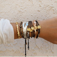 Summertime bracelet  Black linen with golden by littlejarofhearts