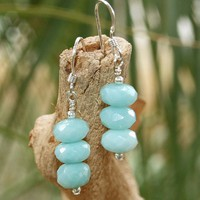 Amazonite Sterling Handmade Earrings Faceted Stacked OOAK Jewelry | ShadowDogDesigns - Jewelry on ArtFire