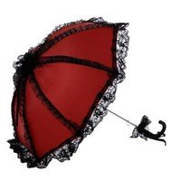 Remedios Boutique Ruffled Wedding Bridal Parasol , Red with Black