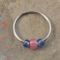 Pink and Blue Cartilage Hoop Earring Septum Tragus Nose Ring Upper Ear Piercing 20 GaugePink