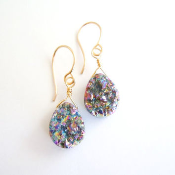 Rainbow Druzy Earrings - Teardrop Shaped Dangles - Gold Filled