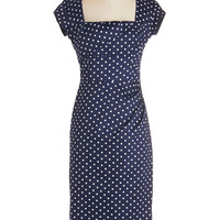 ModCloth Cap Sleeves Sheath Styling Speech Dress in Dots