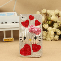 iPhone 4S 4G 3GS iPod Touch Hello Kitty Red Heats Aritificial White Swarovski Cover
