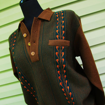vintage late 1960s pure wool button down pullover cardigan sweater. dark sienna and teal vintage sweater