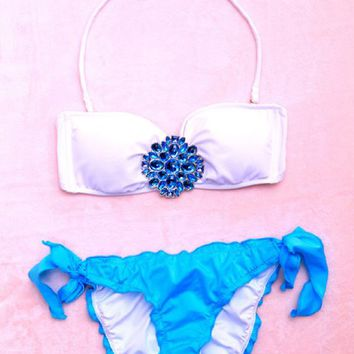 Women Sexy Dress Swimwear Vs Push up Diamond Two Pieces Swimsuit Bikini Set (Blue diamond, S)