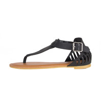 Cut Out Fang Sandals - Black