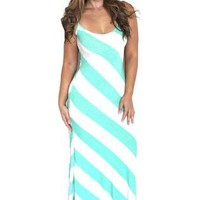 Striped Backless Maxi Dress - Mint