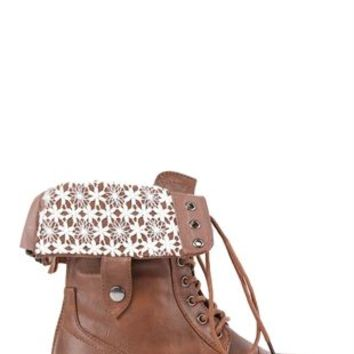 Lace Up Combat Boot with Fold Over Crochet Cuff