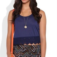 Racerback Crop Tank Top with Crochet Hem