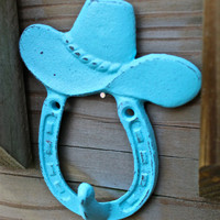 Aqua Blue COWBOY HAT/ HORSESHOE Wall Hook by AquaXpressions