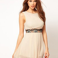 TFNC | TFNC Skater Dress with Embellished Waistband at ASOS