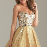 Short Gold Party Dress by Night Moves 6498