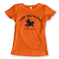 CAMP Half-Blood Tee - funny hip cool Halloween costume halfblood book story movie Percy Jackson girls new - WOMENS Orange T-Shirt DT0001