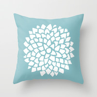 Teal Dahlia Throw Pillow by Color And Form | Society6