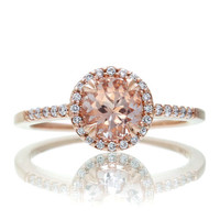 14 Karat Rose Gold Diamond Halo 6mm Round Morganite Engagement Ring Alternative Bridal Wedding Anniversary Jewelry
